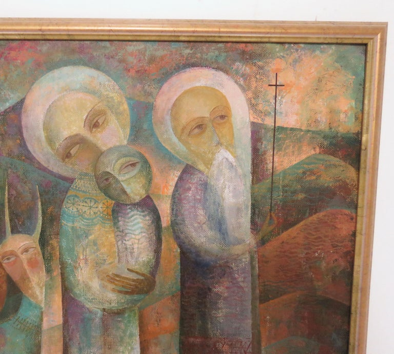 Modernist Russian Icon Painting by Armenian Artist A. Mouradian For Sale 1