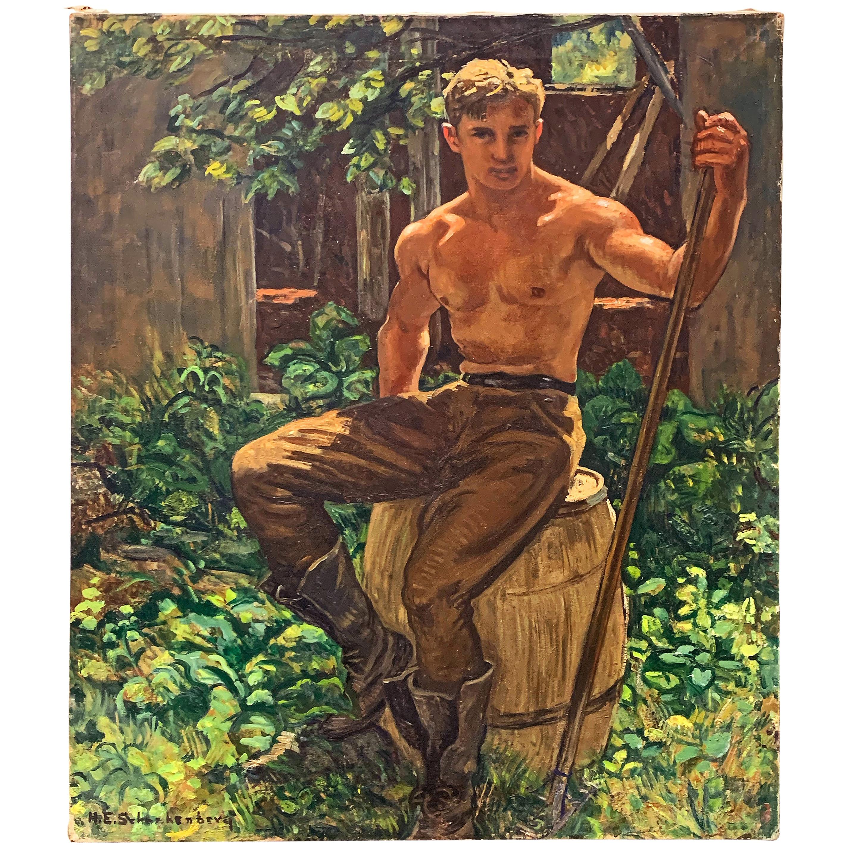 """""""A Moment's Rest,"""" Painting of Shirtless Male Worker, Schnakenberg, WPA Muralist"""