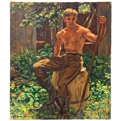 """A Moment's Rest,"" Painting of Shirtless Male Worker, Schnakenberg, WPA Muralist"