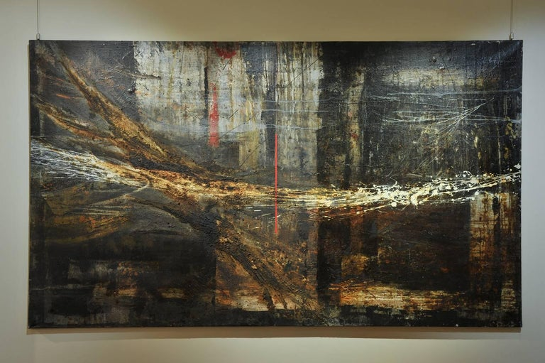 A monumental abstract painting, polychrome oil on canvas, with a high texture and relief, with inclusion of gold powder, centered by a dramatic vertical red line. Very powerful work, reminding Anselm Kiefer. Anonymous artist from the middle of the
