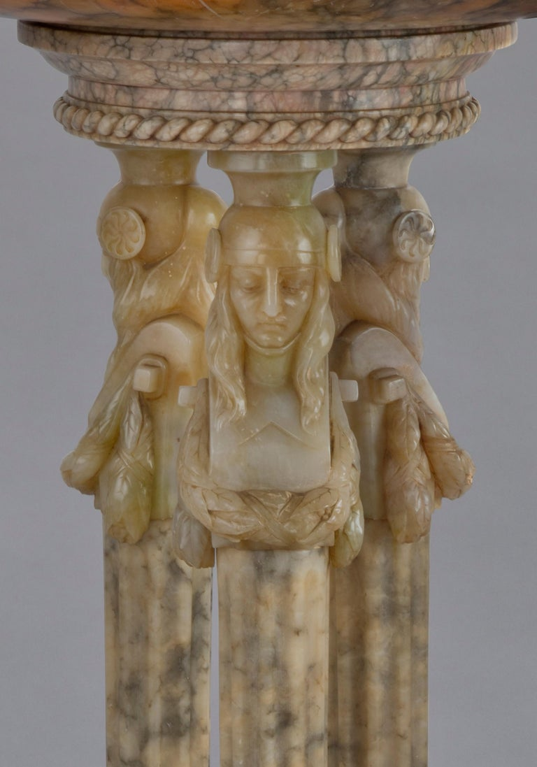 Monumental Alabaster Figural Jardinière, circa 1930 In Good Condition For Sale In London, GB