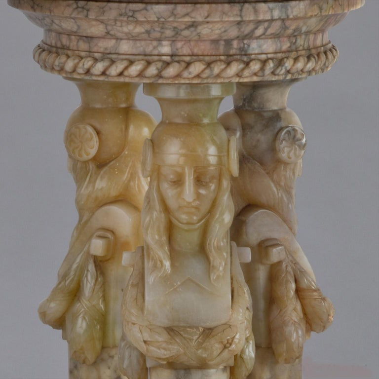20th Century Monumental Alabaster Figural Jardinière, circa 1930 For Sale