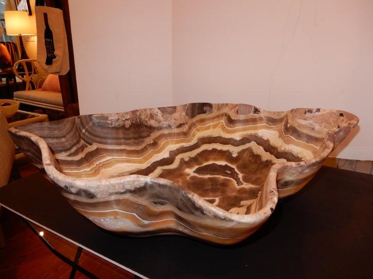 Modern Monumental Artisan Crafted Onyx Bowl or Vessel