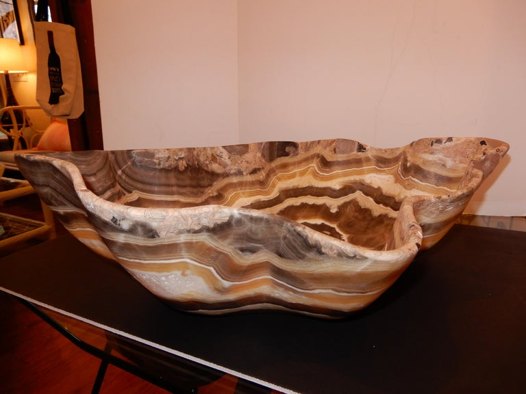 Hand-Crafted Monumental Artisan Crafted Onyx Bowl or Vessel