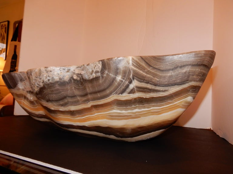 Contemporary Monumental Artisan Crafted Onyx Bowl or Vessel