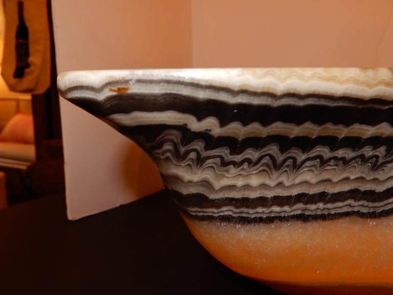 Monumental Artisan Onyx Large Bowl or Vessel For Sale 3