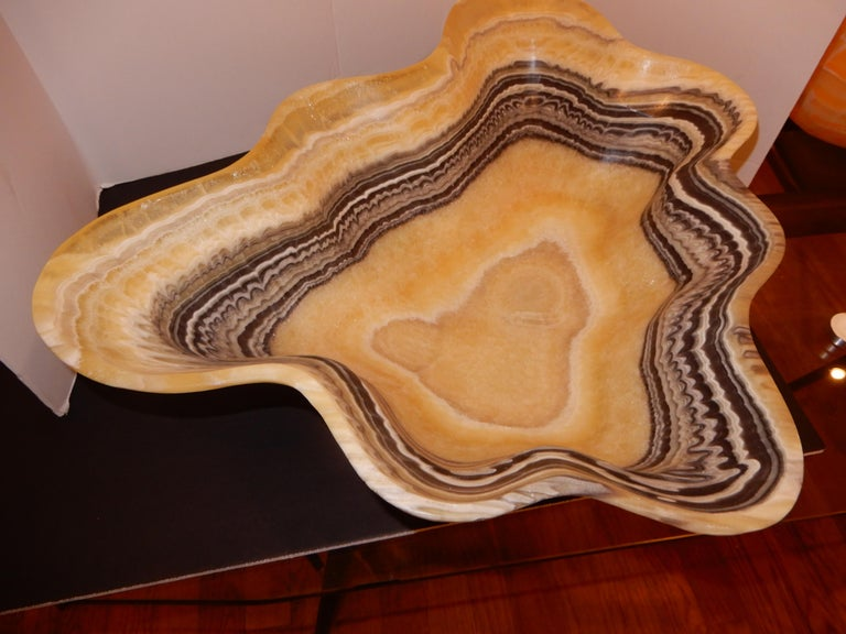 Modern Monumental Artisan Onyx Large Bowl or Vessel For Sale