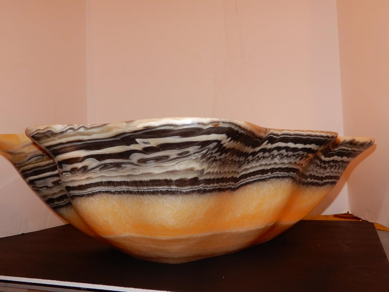 Monumental Artisan Onyx Large Bowl or Vessel For Sale 1
