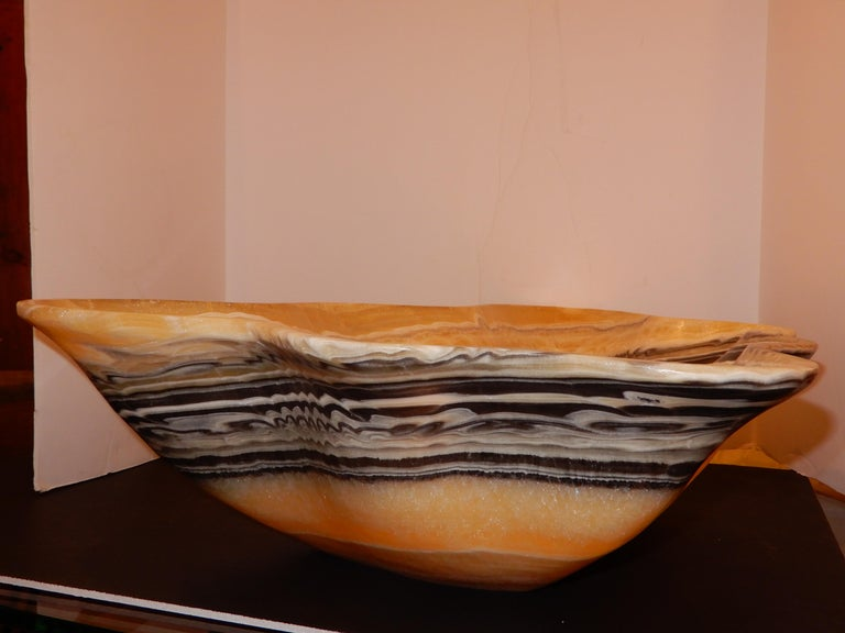 Monumental Artisan Onyx Large Bowl or Vessel For Sale 2