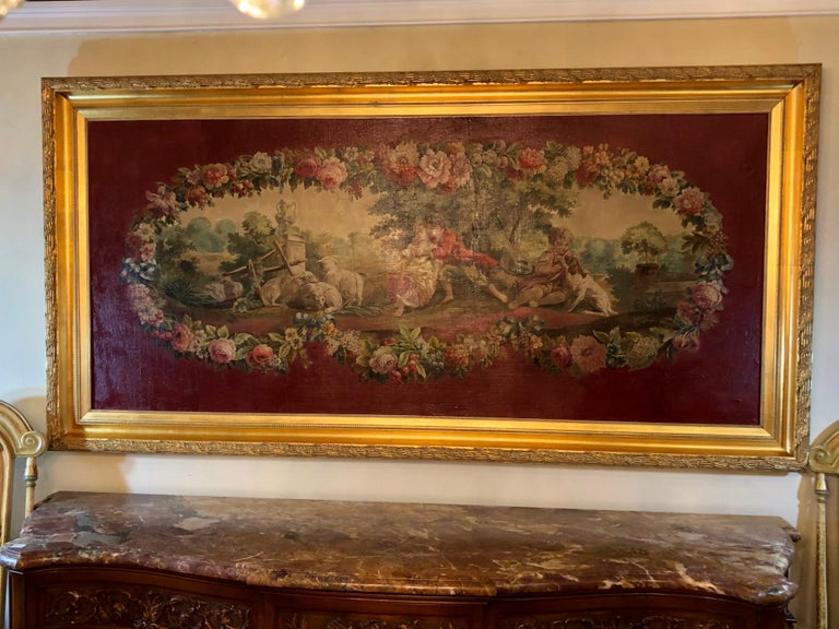 A monumental French oil on canvas 19th-20th century lovers in the field. This wonderfully detailed oil on canvas has been relined and sits in a custom gilt gold carved frame that is five inches in width. We acquired this Fine work directly from a