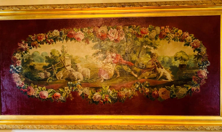 Monumental French Oil on Canvas 19th- 20th Century Lovers in the Field In Good Condition For Sale In Stamford, CT