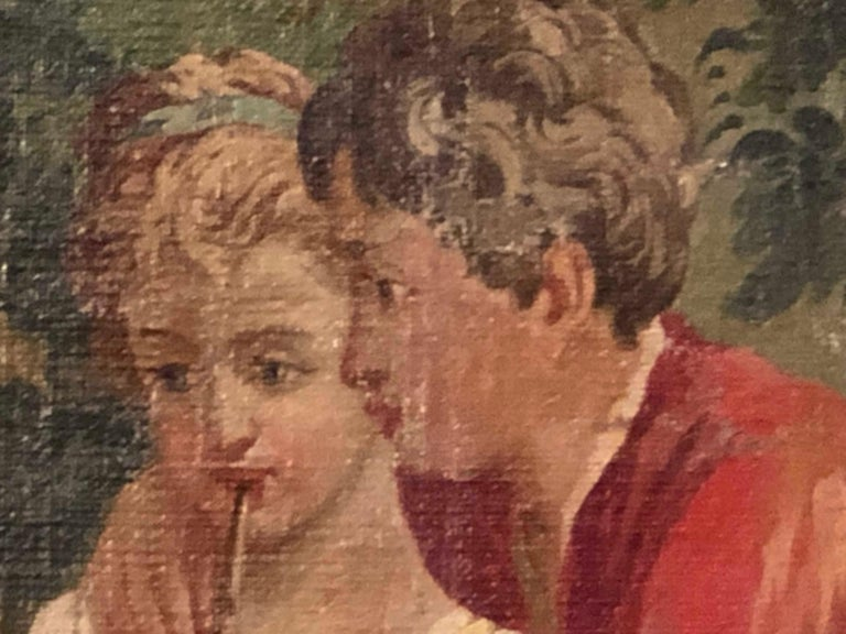 Monumental French Oil on Canvas 19th- 20th Century Lovers in the Field For Sale 1