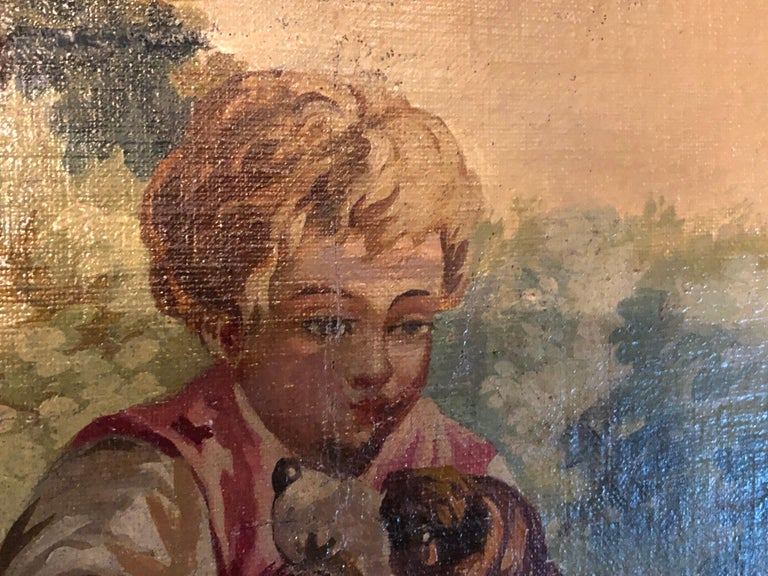 Monumental French Oil on Canvas 19th- 20th Century Lovers in the Field For Sale 3