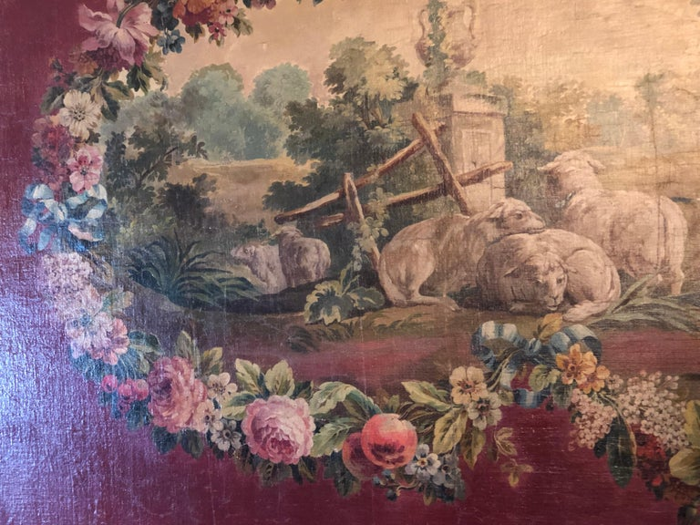 Monumental French Oil on Canvas 19th- 20th Century Lovers in the Field For Sale 4