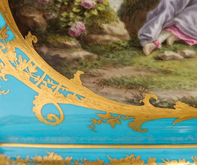 Monumental Pair of 19th Century French Sèvres Celeste Blue Porcelain Cachepots For Sale 6
