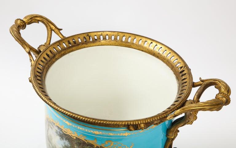 Monumental Pair of 19th Century French Sèvres Celeste Blue Porcelain Cachepots For Sale 9