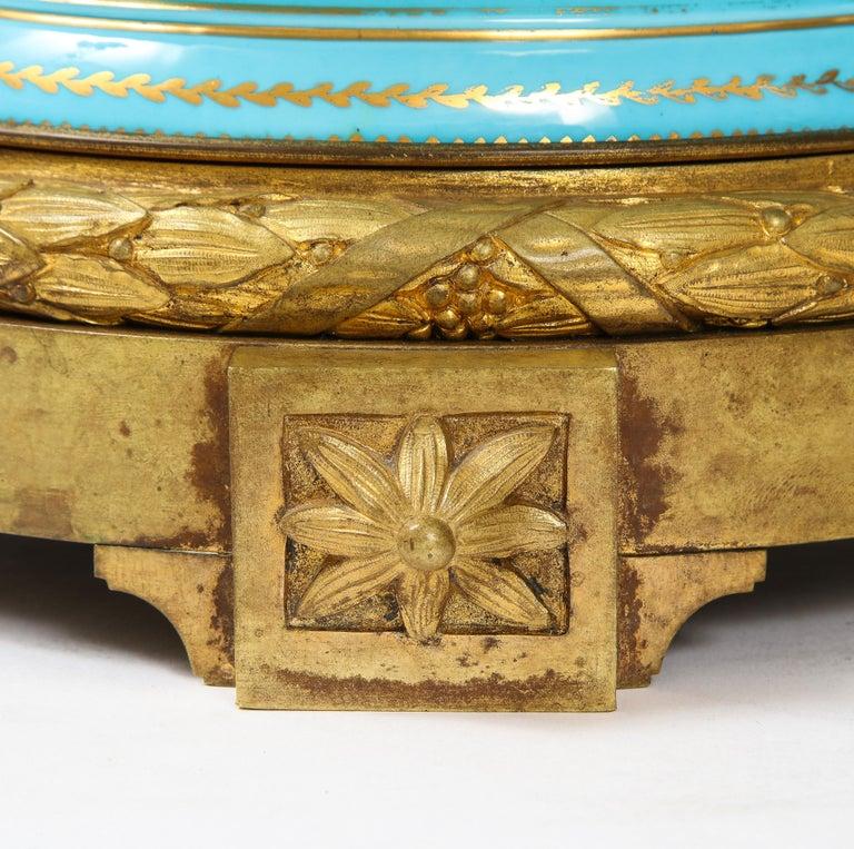 Monumental Pair of 19th Century French Sèvres Celeste Blue Porcelain Cachepots For Sale 10