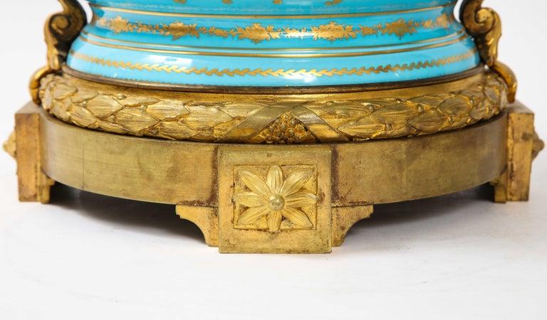 Monumental Pair of 19th Century French Sèvres Celeste Blue Porcelain Cachepots For Sale 11