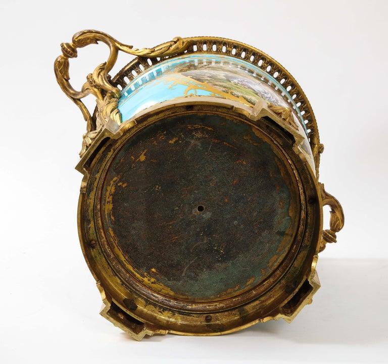 Monumental Pair of 19th Century French Sèvres Celeste Blue Porcelain Cachepots For Sale 12
