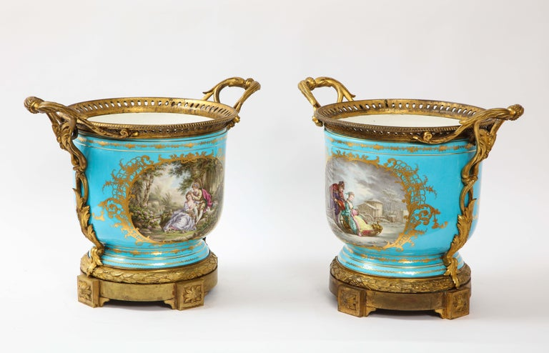 Gilt Monumental Pair of 19th Century French Sèvres Celeste Blue Porcelain Cachepots For Sale