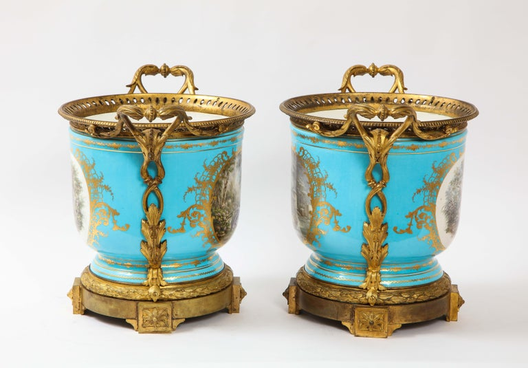 Monumental Pair of 19th Century French Sèvres Celeste Blue Porcelain Cachepots In Good Condition For Sale In New York, NY