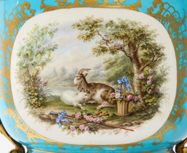 Mid-19th Century Monumental Pair of 19th Century French Sèvres Celeste Blue Porcelain Cachepots For Sale