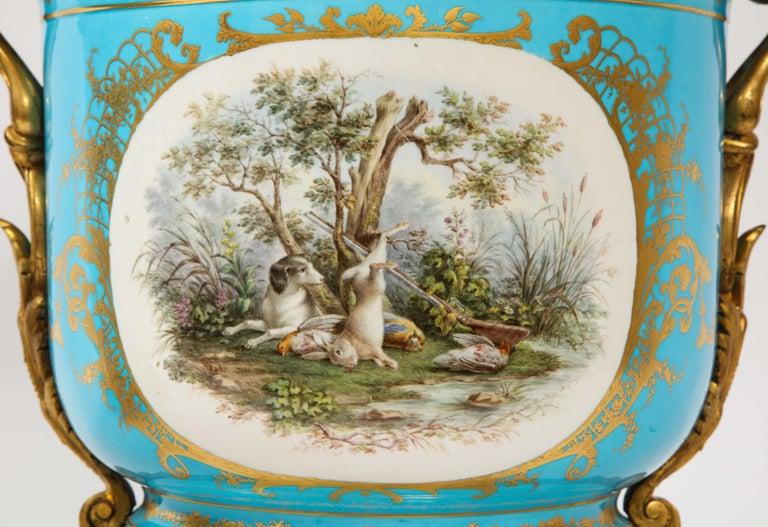 Monumental Pair of 19th Century French Sèvres Celeste Blue Porcelain Cachepots For Sale 1