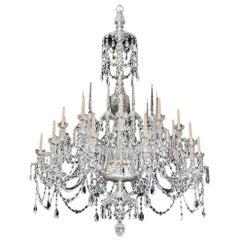 Monumental Twenty-Light Cut Glass Chandelier in Adam Style