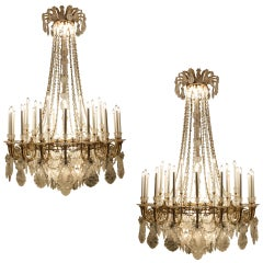 Superb Quality pair of French Bronze Rock Crystal & Ormolu Chandeliers