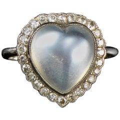 Moonstone and Diamond Heart Cluster Ring