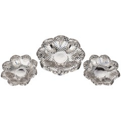 Most Attractive Suite of Three Late 19th Century Silver Pierced and Fluted Dis