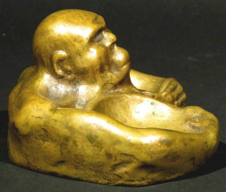 Cast A Most Unusual Figural Bronze Vide Poche, Continental, Circa 1900 For Sale