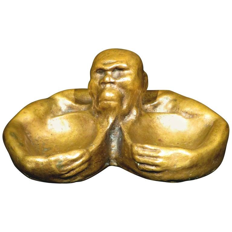 A Most Unusual Figural Bronze Vide Poche, Continental, Circa 1900 For Sale