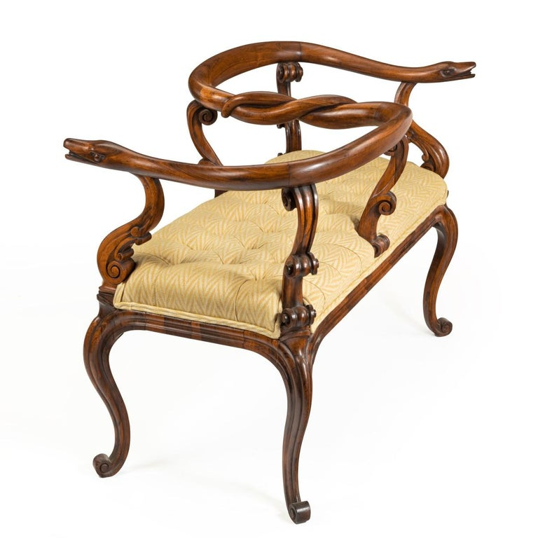 English Most Unusual Victorian Solid Rosewood Tête-à-tête or Love Seat For Sale