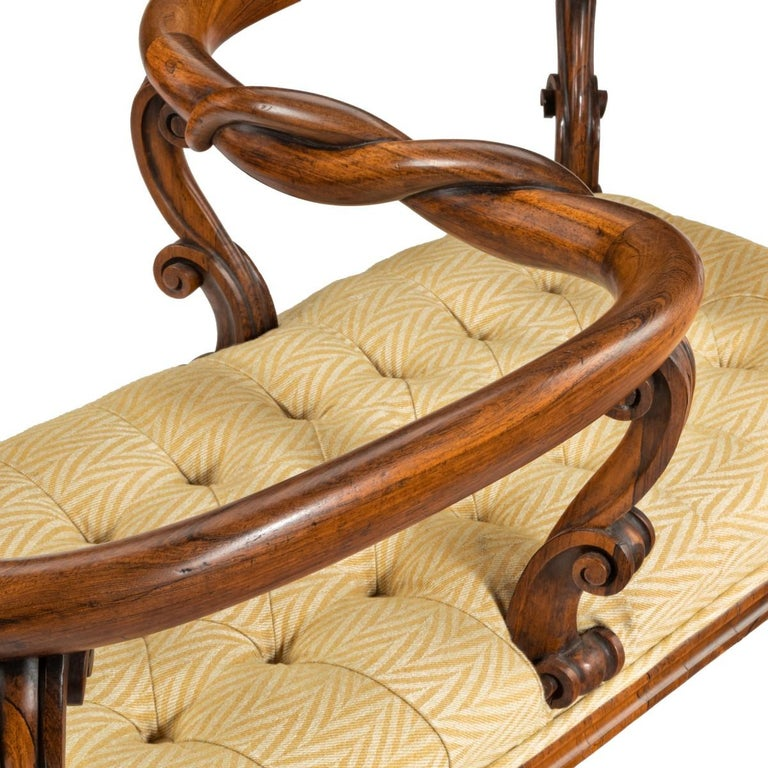 Mid-19th Century Most Unusual Victorian Solid Rosewood Tête-à-tête or Love Seat For Sale