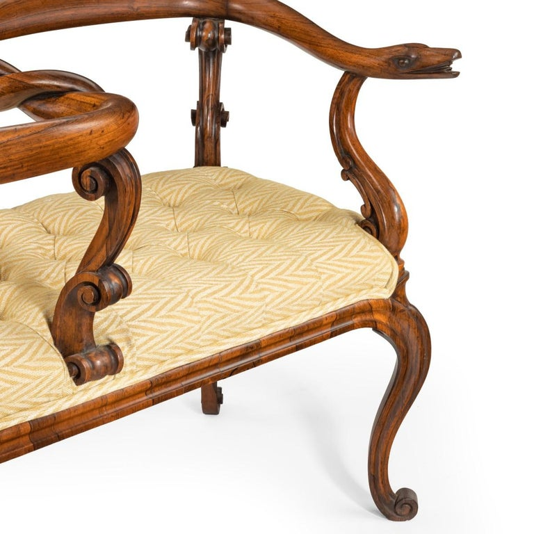 Most Unusual Victorian Solid Rosewood Tête-à-tête or Love Seat For Sale 1