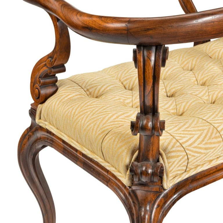 Most Unusual Victorian Solid Rosewood Tête-à-tête or Love Seat For Sale 2