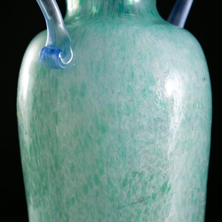 Italian Mottled Light Blue Murano Glass Vase as a Table Lamp