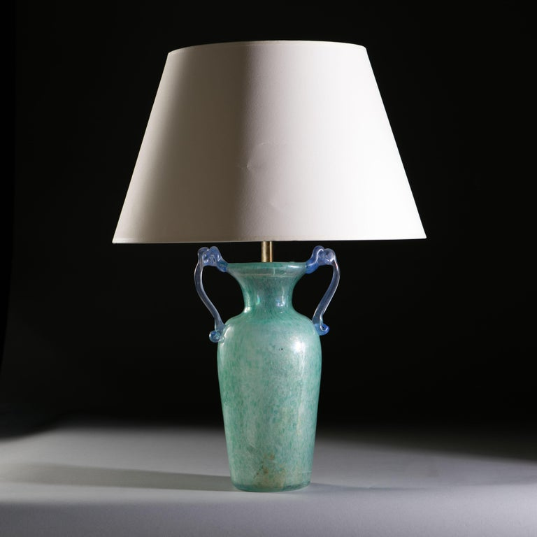 Mottled Light Blue Murano Glass Vase as a Table Lamp In Good Condition In London, GB