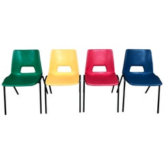 Multicolored Plastic Set of Retro Stacking Chairs on Black Metal Base '4'