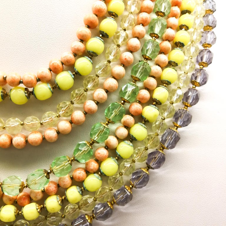 A  multi row, multi coloured glass bead necklace, and earrings, De Mario, 1950s For Sale 6
