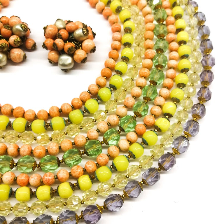 A  multi row, multi coloured glass bead necklace, and earrings, De Mario, 1950s In Excellent Condition For Sale In London, London