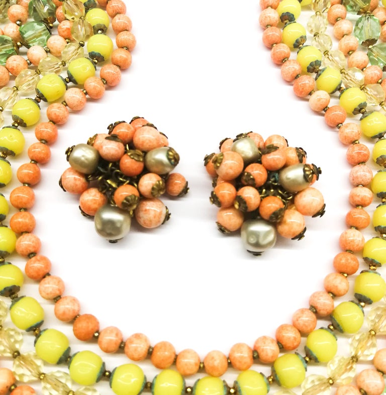 A  multi row, multi coloured glass bead necklace, and earrings, De Mario, 1950s For Sale 1