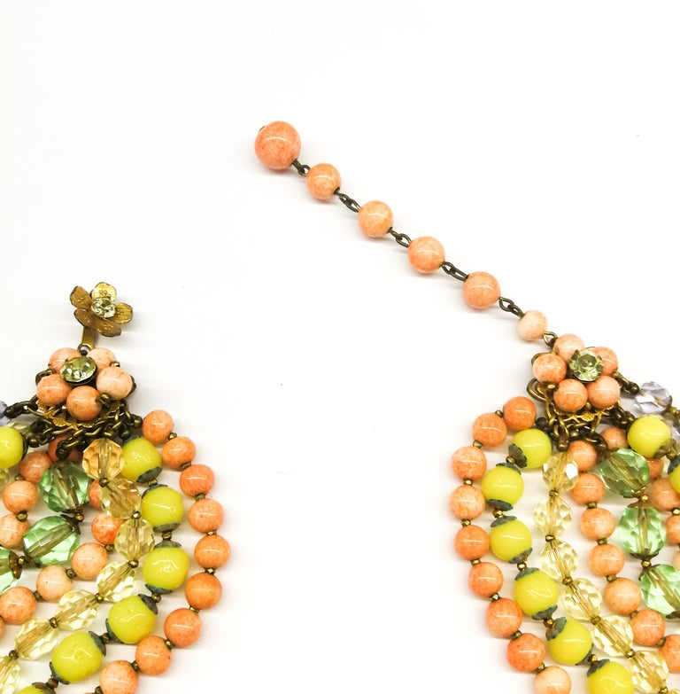 A  multi row, multi coloured glass bead necklace, and earrings, De Mario, 1950s For Sale 2