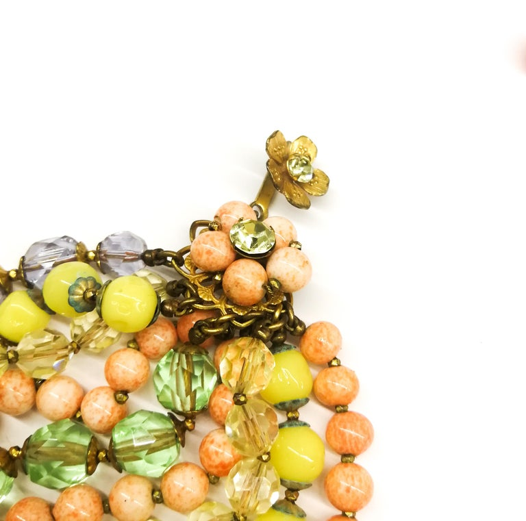 A  multi row, multi coloured glass bead necklace, and earrings, De Mario, 1950s For Sale 3