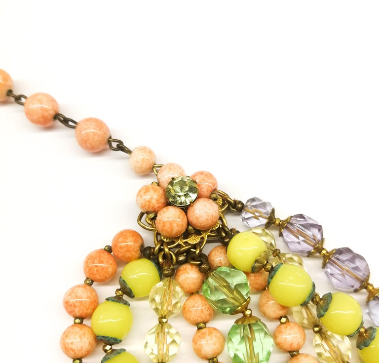 A  multi row, multi coloured glass bead necklace, and earrings, De Mario, 1950s For Sale 4