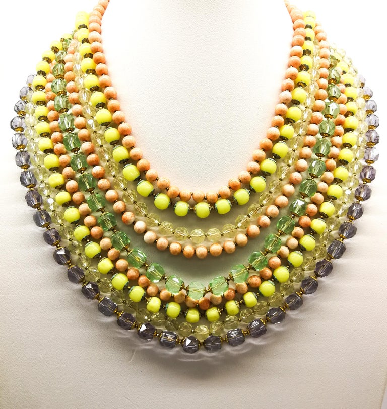 A  multi row, multi coloured glass bead necklace, and earrings, De Mario, 1950s For Sale 5