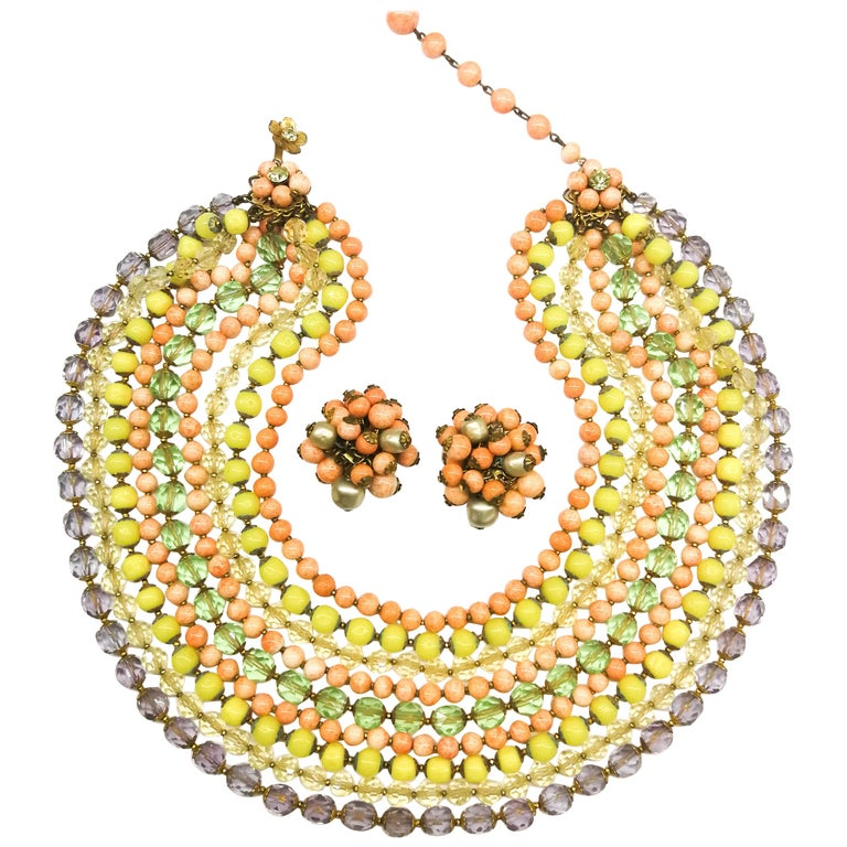 A  multi row, multi coloured glass bead necklace, and earrings, De Mario, 1950s For Sale