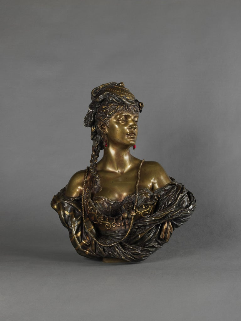 An important multi patinated bronze orientalist female bust by Henri Honoré Plé.   French, dated 1883.   Engraved to the back 'Henri Plé / 1883'.  Henri Honoré Plé (1853 - 1922) studied under Gérault and Mathurin Moreau, and worked as a