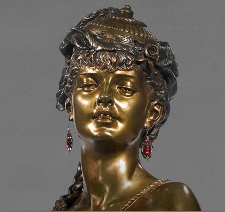French Multipatinated Bronze Orientalist Female Bust by Henri Honoré Plé, Dated 1883 For Sale